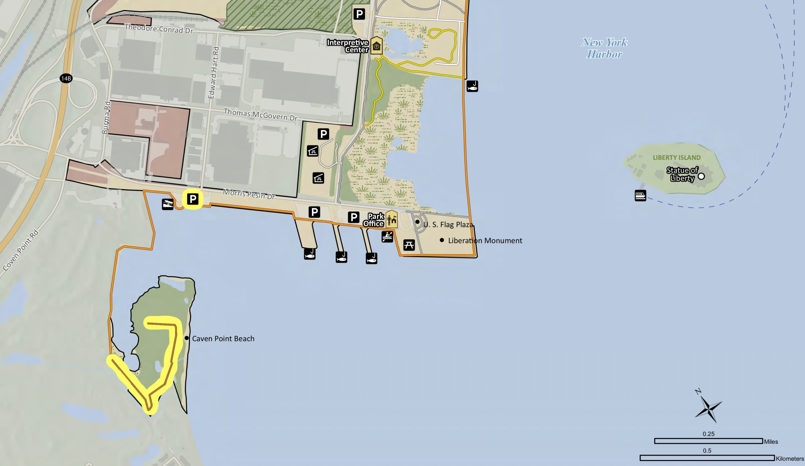 Caven Point area map