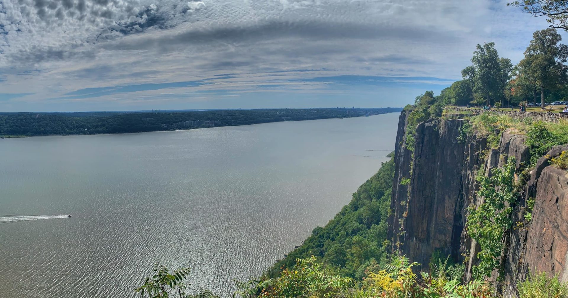 View of the Hudson River from the top of the Palisades