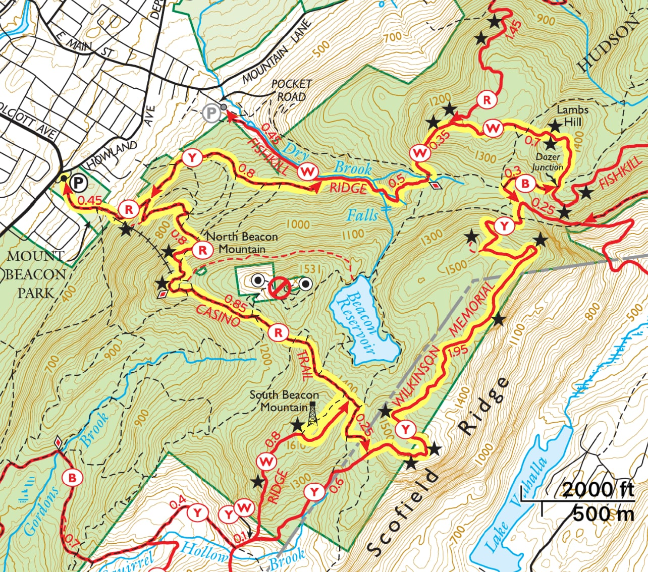 Mount Beacon and Lambs Hill Trail Map
