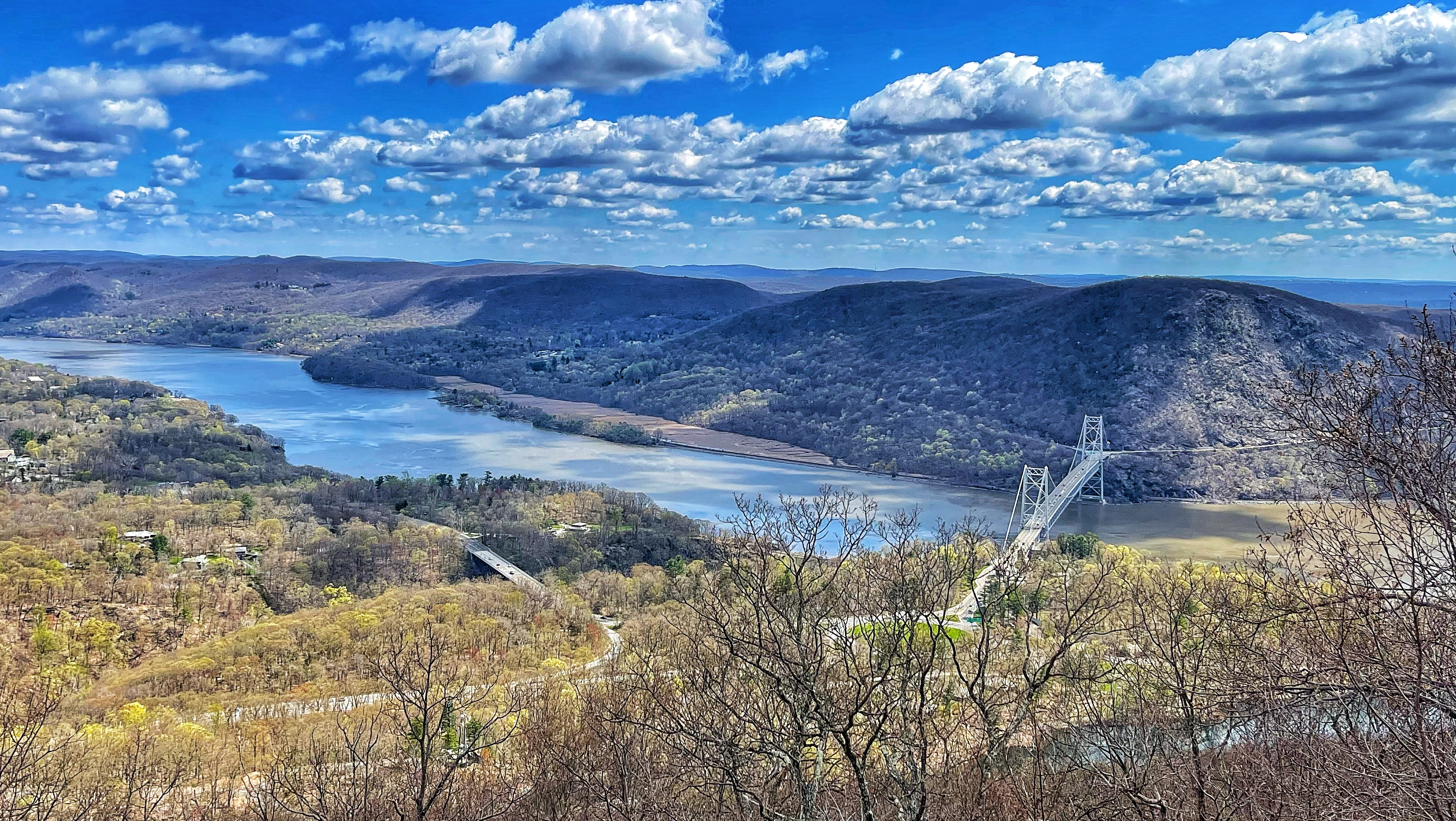 View of the Hudson River, Bear Mountain Bridge, and Anthonys Nose