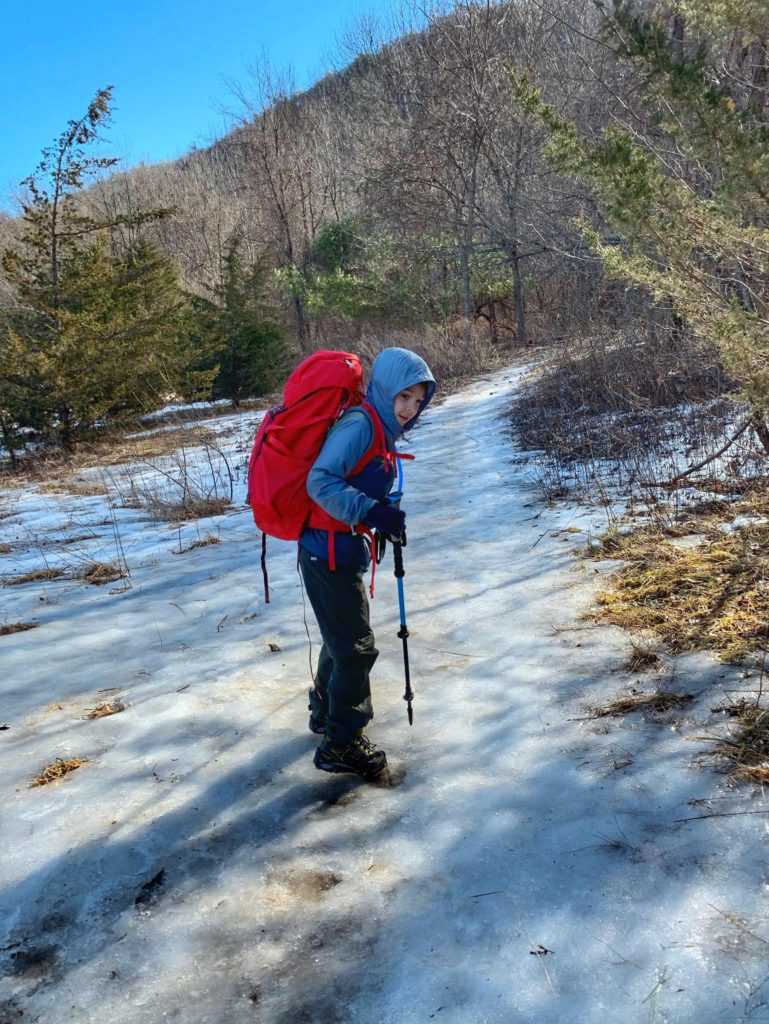 Winter hiking on the Stairway to Heaven trail
