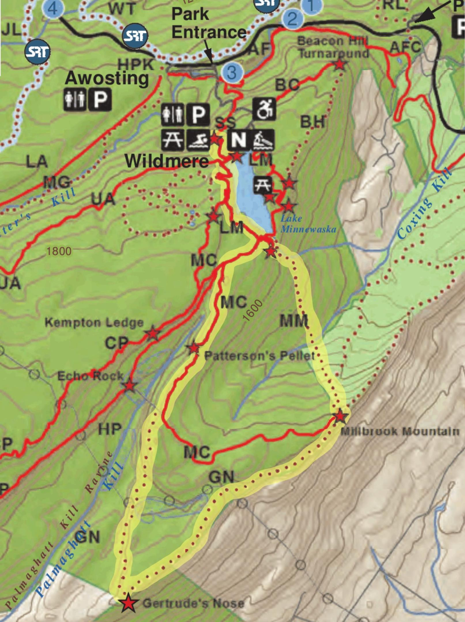 Gertrude's Nose trail map