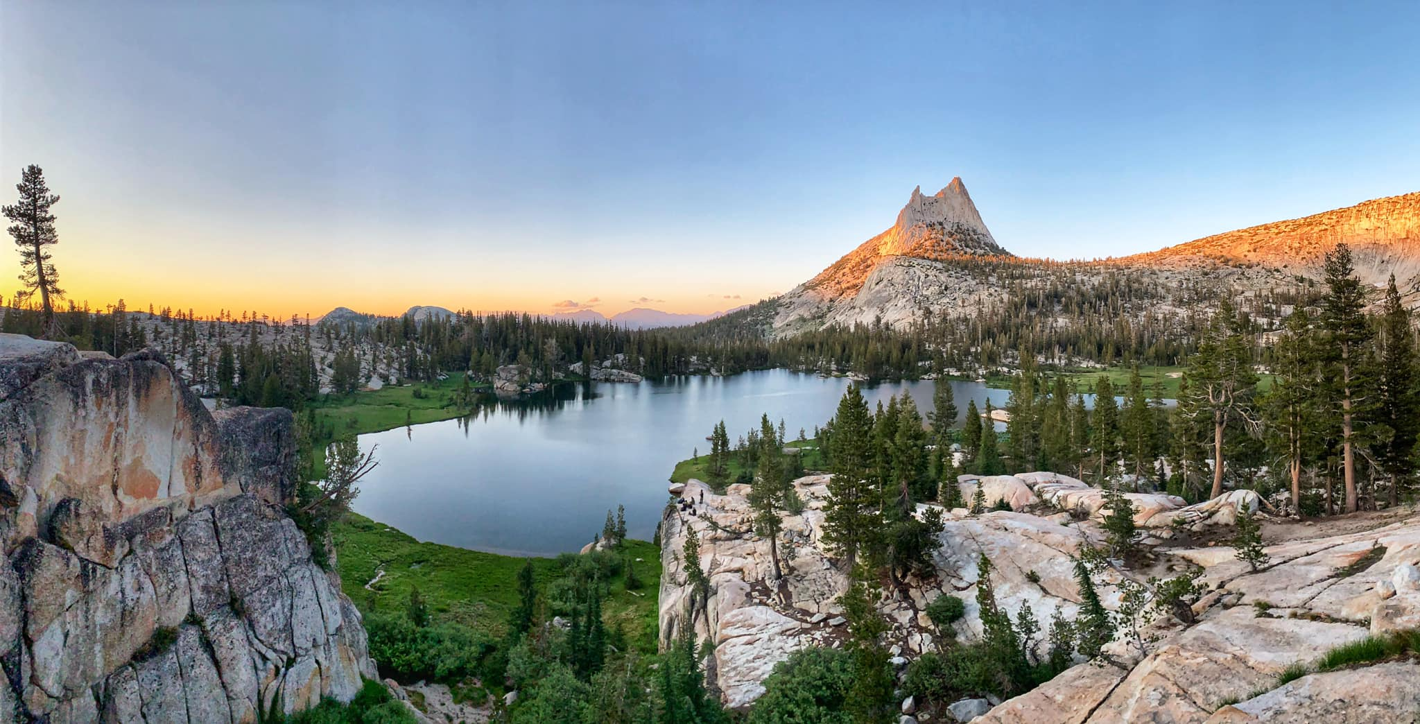 Upper Cathedral Lake and Cathedral Peak at sunset