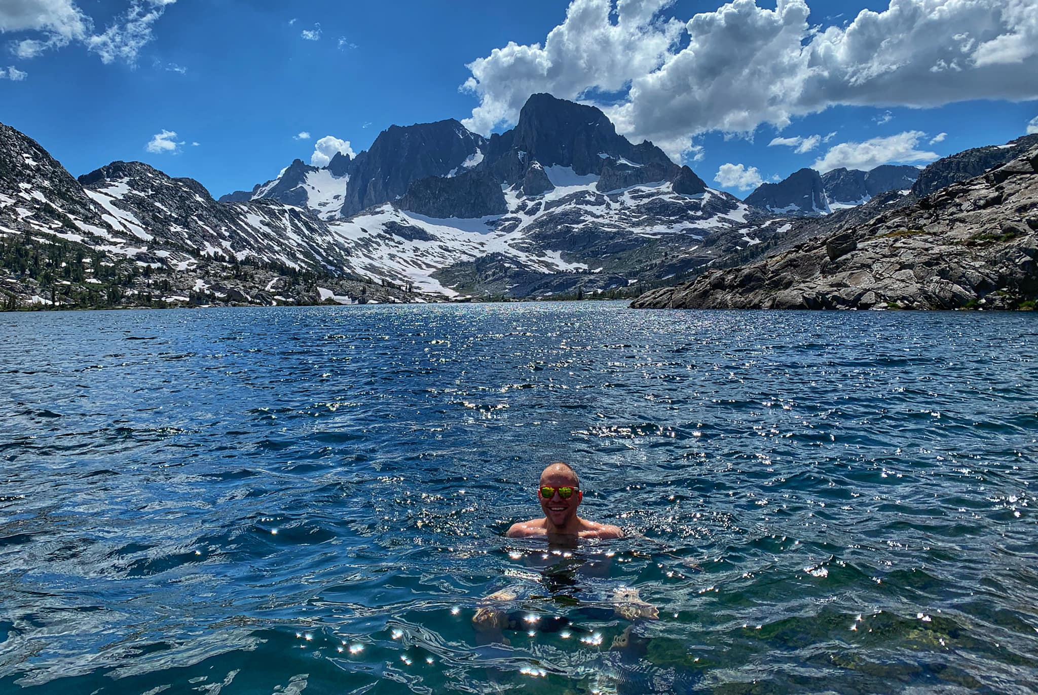 Taking a dip in Garnet Lake