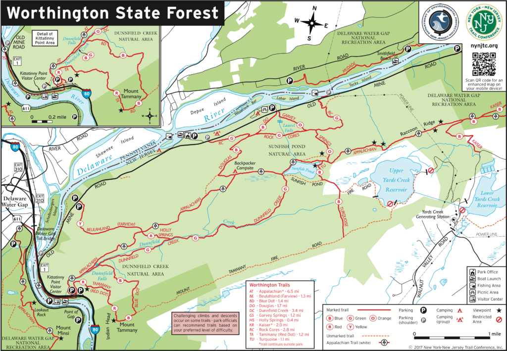 Map of Worthington State Forest shows Sunfish Pond location
