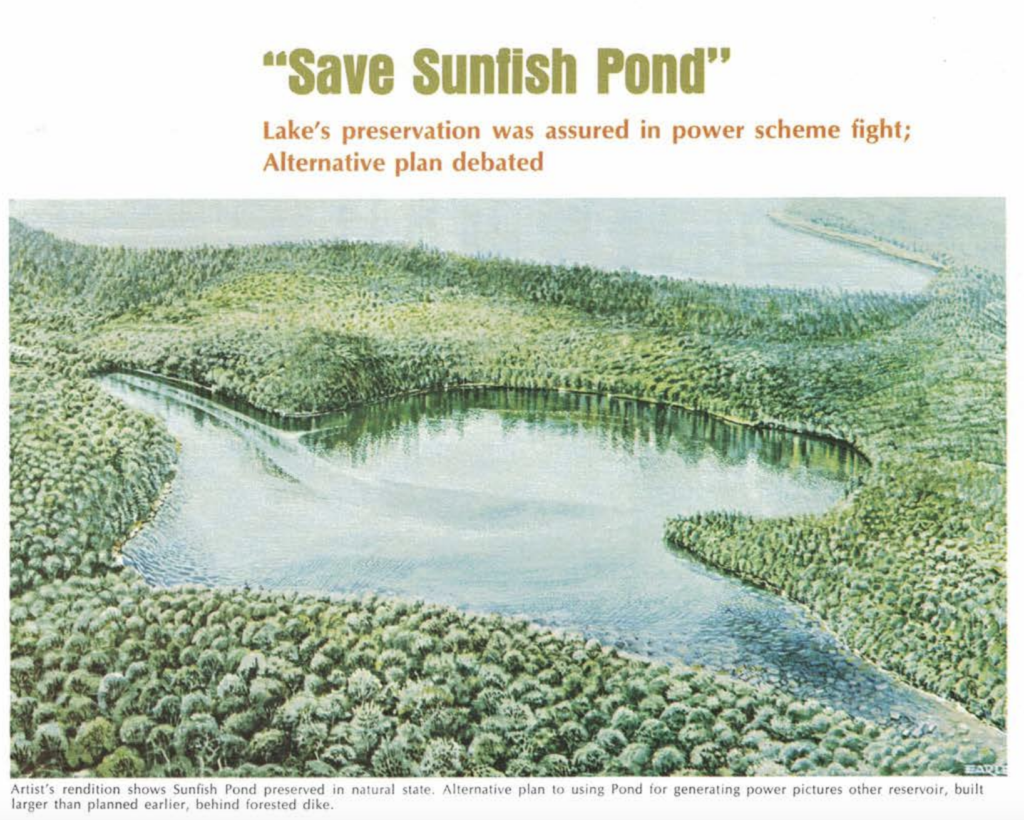 Artist rendering of Sunfish Pond and an alternative plan to the Tocks Island Dam project - a plan that was also opposed and defeated by conservationists